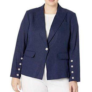 Tahari Plus Front Button Sleeve Peak Lapel Jacket